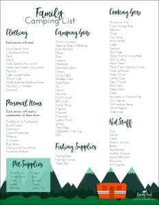 FREE Printable Family Camping List Bunny Trail Books